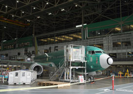 A Boeing 737 aircraft is seen during the manufacturing process at Boeing's 737 a...
