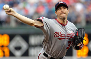 Washington Nationals' Max Scherzer pitches during the first inning of a baseball game against the Philadelphia Phillies, Friday, June 26, 2015, in Philadelphia.