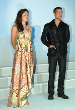 Angelina Jolie and Brad Pitt during ShoWest 2005 - 20th Century Fox Luncheon at Paris Hotel in Las Vegas, Nevada, United States.