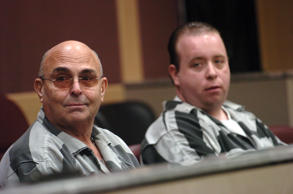 "Anthony ""Big Tony"" Moscatiello, left, and James Fiorillo are shown in judge Michael Kaplan's courtroom for a bond reduction hearing on Friday, Jan. 20, 2006, in Fort Lauderdale, Fla. Moscatiello and Fiorillo were two of the three men accused in the 2001 gangland-style murder of Konstantinos ""Gus"" Boulis."