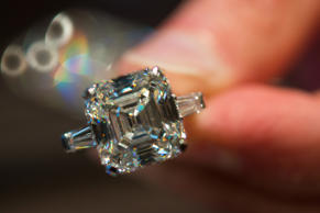 A diamond is displayed at the certification level at the HRD Antwerp Institute of Gemmology at the Antwerp World Diamond Centre March 9, 2015.