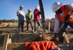 A crew pours a slab for a new home at the Mountain's Edge master planned community in the southwest west part of the Las Vegas Valley, Nevada