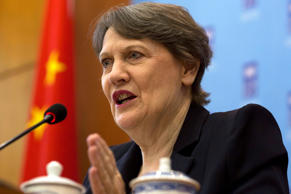 File Photo: UNDP administrator Helen Clark speaks at a press conference in Beijing, Monday, May 4, 2015.