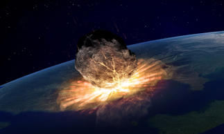 An artist's impression of a catastrophic asteroid strike. Campaigners say that 99% of asteroids that have the potential to crash into earth are unknown to us.