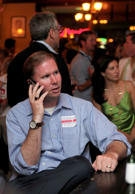 Paul Thurmond, son of the late U.S. Sen. Strom Thurmond, takes a phone call as the number of votes comes in for the Republican primary race for U.S. House of Representatives for the first district of South Carolina in Charleston, S.C. on Tuesday, June 8, 2010.