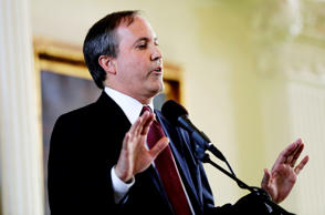 "In this Jan. 5, 2015, file photio, Ken Paxton speaks after he was sworn in as Texas attorney general in Austin, Texas. Paxton calls the Supreme Court decision giving same-sex couples the right to marry a ""lawless ruling"" and says state workers can cite their religious objections in denying marriage licenses. He warned in a statement Sunday, June 28, 2015, that any clerk, justice of the peace or other administrator who declines to issue a license to a same-sex couple could face litigation or a fine. But in the nonbinding legal opinion, Paxton says ""numerous lawyers"" stand ready to defend, free of charge, any public official refusing to grant one."