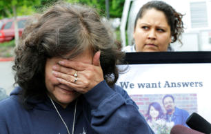 Marilyn Covarrubias, mother of Daniel Covarrubias, outside police headquarters in Lakewood, Washington, May 11, 2015.
