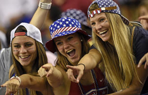 USA supporters cheer for their team ahead of the semifinal football match between USA and Germany during their 2015 FIFA Women's World Cup at the Olympic Stadium in Montreal on June 30, 2015.