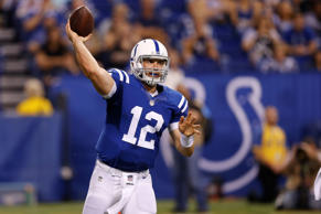 Indianapolis Colts quarterback Andrew Luck throws against the New Orleans Saints...