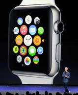 Apple CEO Tim Cook introduces the new Apple Watch on Tuesday, Sept. 9, 2014, in Cupertino, California.