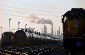 Rail tanker cars sit lined up in Corpus Christi, Texas, U.S., on Thursday, Oct. 4, 2012. Gasoline advanced as the U.S. unemployment rate slipped to 7.8 percent in September, the lowest since President Barack Obama took office in January 2009, and amid several unplanned refinery and pipeline shutdowns.