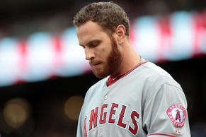 Josh Hamilton of the Los Angeles Angels of Anaheim reacts against the Texas Rangers in Arlington on Aug. 16 in Arlington, Texas.