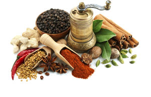 Different spices and herbs.