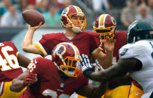 Washington Redskins' Kirk Cousins passes during the first half of an NFL footbal...