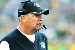 Head Coach Rex Ryan of the New York Jets follows the action against the Green Bay Packers at Lambeau Field on September 14, 2014 in Green Bay, Wisconsin.