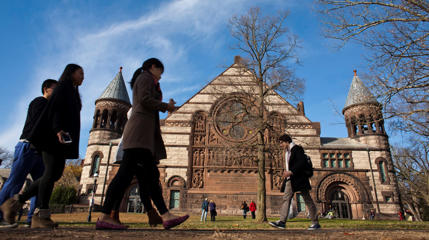 People walk around the Princeton University campus in New Jersey