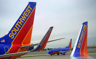 Southwest Airlines passenger planes are seen at Chicago's Midway Airport in Illinois