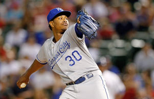 Yordano Ventura #30 of the Kansas City Royals pitches against the Texas Rangers in the fourth inning at Globe Life Park in Arlington on August 22, 2014 in Arlington, Texas.