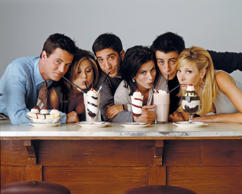 FRIENDS -- Pictured: (l-r) Matthew Perry as Chandler Bing, Jennifer Aniston as Rachel Green, David Schwimmer as Ross Geller, Courteney Cox as Monica Geller, Matt Le Blanc as Joey Tribbiani, Lisa Kudrow as Phoebe Buffay