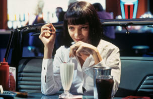 American actress Uma Thurman as Mia Wallace in a scene from 'Pulp Fiction', directed by Quentin Tarantino, 1994.