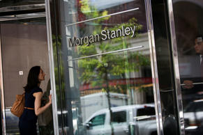 Pedestrians enter and exit Morgan Stanley headquarters in New York.