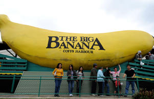 Filipino tourists inspect The Big Banana sculpture near Coffs Harbour.