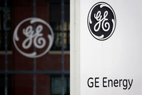 The logo of U.S. conglomerate General Electric is pictured at the company's site in Belfort, April 27, 2014. Vincent Kessler/Reuters