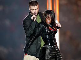 "Justin Timberlake and Janet Jackson perform during the halftime show of Super Bowl XXXVII at Reliant Stadium in Houston, Texas. The show contained the infamous ""wardrobe malfunction,"" when Jackson's top came off."