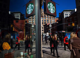 A Starbucks store is seen in New York January 24, 2014.