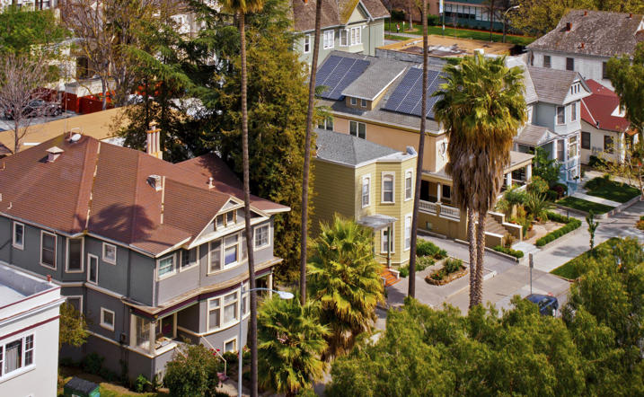 A high angle view of a row of Victorian style houses in San Jose, Calif.