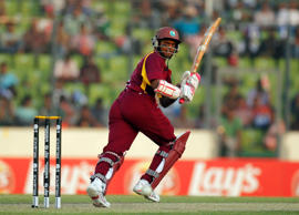 West Indies' Shivnarine Chanderpaul reacts after a shot during their Cricket World Cup 2011 quarter-final match against Pakistan in Dhaka March 23, 2011.