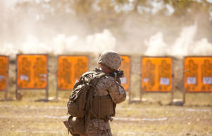 A member of the U.S. Marine Corps trains in Australia's Northern Territory.