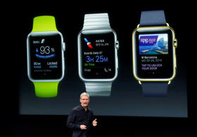 Apple CEO Tim Cook discusses the new Apple Watch during an event at Apple headquarters on Thursday in Cupertino, Calif.