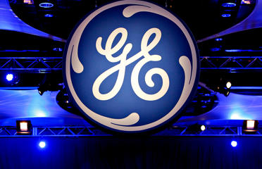 The logo of the General Electric Co.