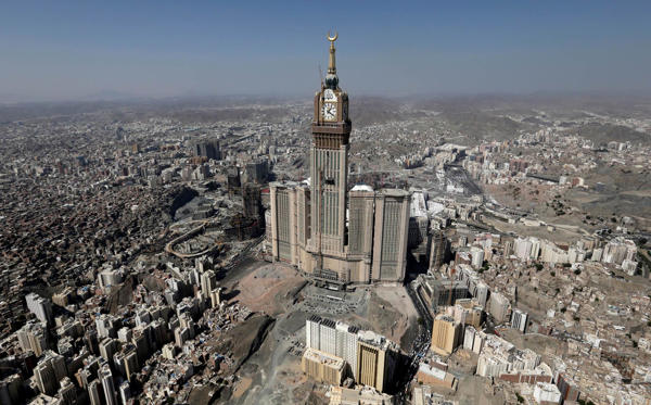 The third-tallest building in the world is the Makkah Clock Royal Tower located in Mecca, Saudi Arabia, whose most striking feature is its clock tower. The clock face is so large that the clock can be seen from 25 kilometers away.