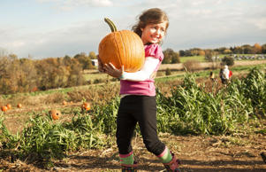A girl carries a pumpkin through a field in October.