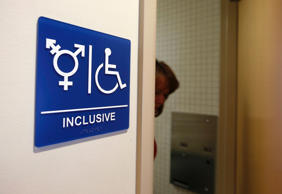 A gender-neutral bathroom is seen at the University of California, Irvine in Irvine, Calif., September 30, 2014.