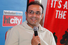 Indian cricketer Virender Sehwag during an interview at HT House on February 25, 2014 in New Delhi, India.