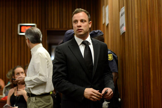 Oscar Pistorius arrives for his sentencing at the North Gauteng High Court in Pretoria, South Africa, Oct. 21, 2014.