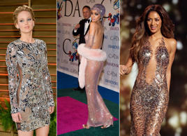 Actress Jennifer Lawrence attends the 2014 Vanity Fair Oscar Party on Sunday, March 2, 2014, in West Hollywood, Calif. (Photo by ), EDS NOTE : NUDITY - Rihanna attends the CFDA Fashion Awards on Monday, June 2, 2014 in New York. (Photo by )Judges - Nicole Scherzinger WEARING JULIEN MACDONALD SAME OUTFIT AS CATWALK MODEL 3025053aw