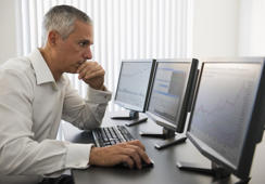 Businessman working at computer
