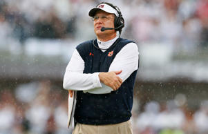 Head coach Gus Malzahn of the Auburn Tigers looks on during the game against the Mississippi State Bulldogs at Davis Wade Stadium on October 11, 2014 in Starkville, Miss.