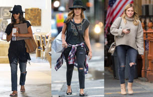 Celebrities are making a statement with ripped jeans. Here's a look at a few following the trend.