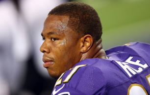 Ray Rice of the Baltimore Ravens sits on the bench against the Dallas Cowboys in the first half of their preseason game at AT&T Stadium on August 16, 2014 in Arlington, Texas.