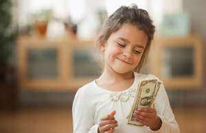 Girl counting allowance money