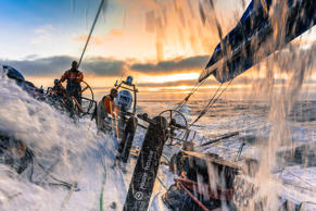 Onboard Team Vestas Wind. Maciel Cicchetti driving, Tony Rae on mainsheet and Nicolai Sehestead on trim as the boat surfs at 25 knts on the morning of Day 8. during Leg 1 October 18, 2014  between Alicante, Spain and Cape Town, South Africa.