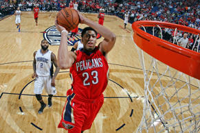 Anthony Davis of the New Orleans Pelicans dunks against the Orlando Magic on Oct. 28 in New Orleans.
