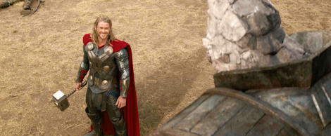 "Chris Hemsworth stars in ""Thor: The Dark World"" in this handout photo released to the media on Nov. 6, 2013. Hemsworth last played Thor in ""The Avengers."" Source: 2013 Marvel via Bloomberg"