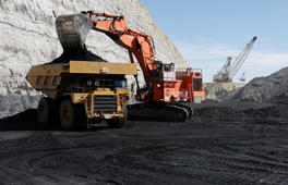 Coal is loaded into a truck at the Jim Bridger Mine, owned by energy firm PacifiCorp and the Idaho Power Company, outside Point of the Rocks, Wyoming March 14, 2014. West Virginia mined 120 million tons (109 metric tons) of coal in 2012, second to Wyoming, or about 12 percent of total U.S. production. Kentucky was third with about 9 percent of output, according to the National Mining Association.