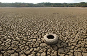 A tire rests on the dry bed of Lake Mendocino, a key Mendocino County reservoir, in Ukiah, California February 25, 2014.
